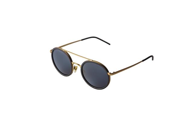 Óculos de sol redondos ouro unissex isolados