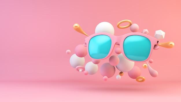Óculos de sol rosa e azuis