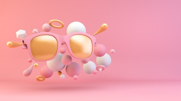 Óculos de sol rosa e dourados