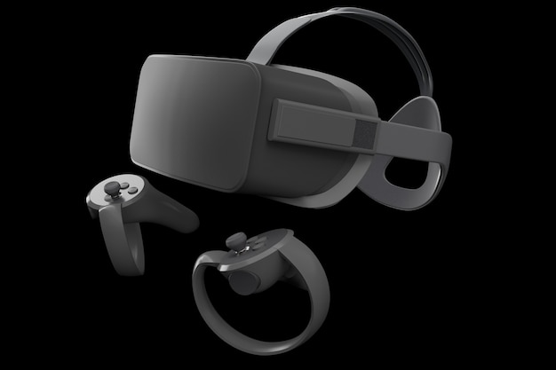 Óculos e controladores de realidade virtual para jogos online isolados no preto