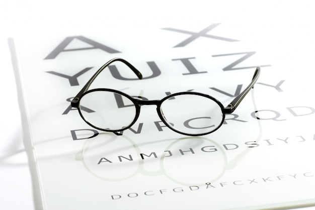 Óculos na tabela de olho gráfico