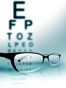 Óculos no fundo do gráfico de teste do olho