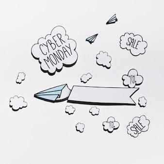 Oferta cyber monday na nuvem de papel com aviões