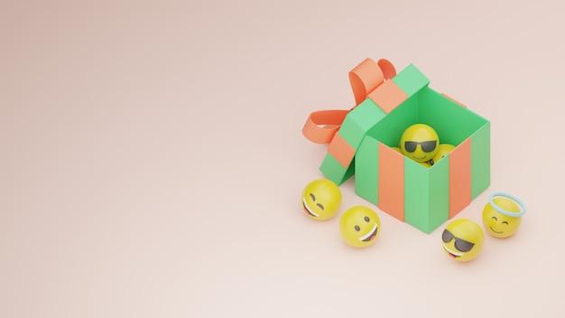 Oferta de caixa de presente 3d e imagem premium emoji