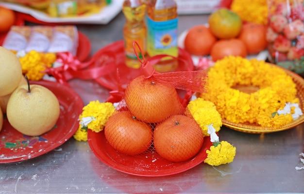 Oferta de comida de ancestral de cultura chinesa, ano novo chinês
