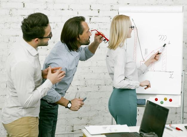 Oficina de empresária no escritório. mulher loira desenha gráficos e diagramas em um quadro branco. colegas do sexo masculino se aproximaram para considerar novas informações