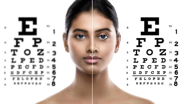Oftalmologia - mulher indiana e carta oftalmológica para teste de visão.
