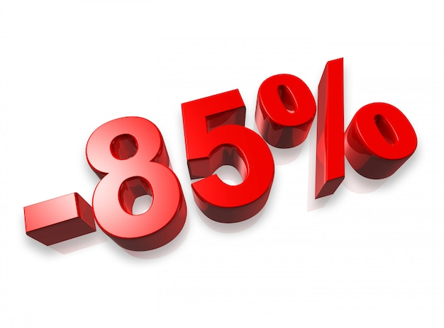 Oitenta e cinco por cento do número 3d isolado no branco