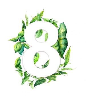 Oito março 8 enlouqueceu com folhas verdes, grama fresca. cartão floral para o dia feminino. aquarela natural
