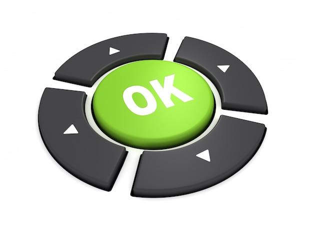 Ok, botão de controle. ilustração de renderização 3d
