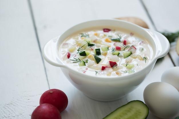 Okroshka. sopa fria de iogurte russo tradicional de verão