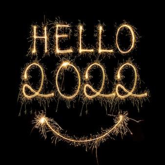 Olá 20182018 escrito com sparkle fogo de artifício feliz ano novo
