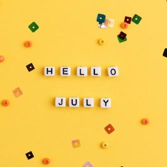Olá julho contas mensagem tipografia