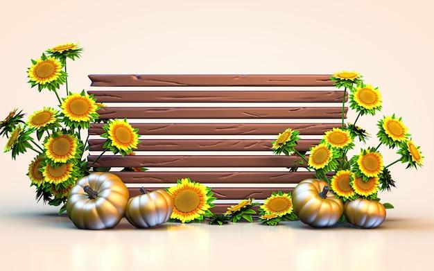 Olá outono fundo de espaço vazio com renderização 3d de girassol e abóbora