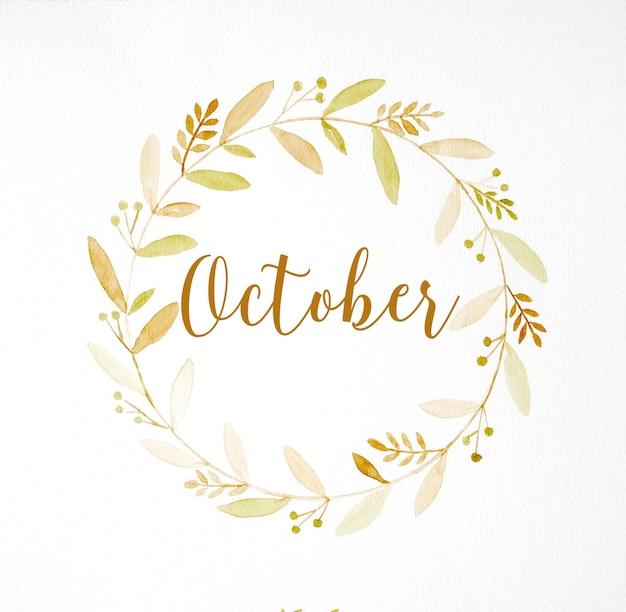 Olá, outubro, mão, desenho, outono, flores, grinalda, aquarela, pintura, branca, fundo