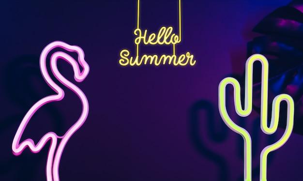 Olá verão com flamingo rosa, cacto e folha de monstera com luz rosa e azul neon