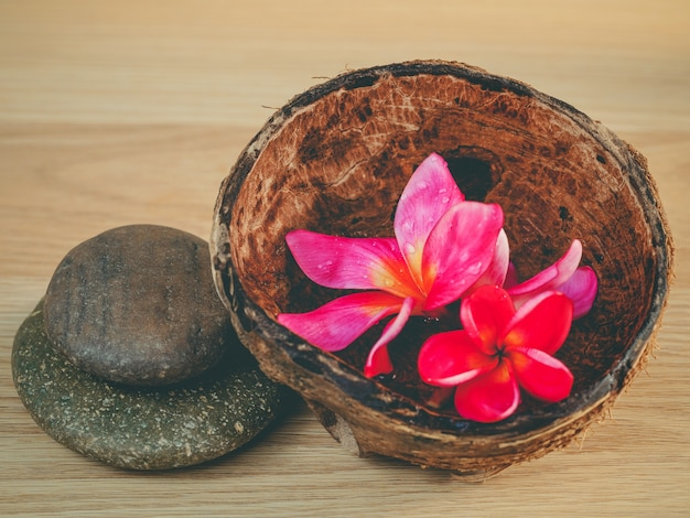 Óleo aromático na casca de coco com pedras de spa.