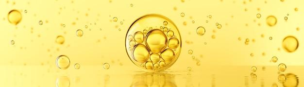 Óleo de bolhas amarelo dourado ou soro de colágeno para produtos cosméticos
