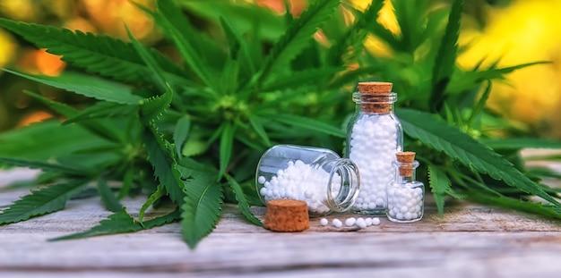 Óleo de maconha em uma pequena garrafa. foco seletivo. natureza.