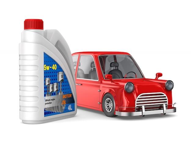 Óleo de motor de recipiente de plástico e carro em espaço em branco