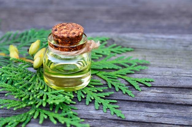 Óleo essencial de aroma thuja em uma jarra de vidro para spa, aromaterapia e cuidados com o corpo em fundo de madeira velho.