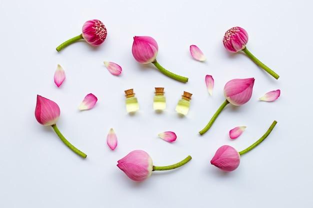 Óleo essencial de lotus com as flores de lótus no branco.