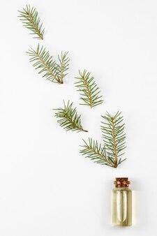 Óleo essencial de pêlo-árvore em frasco de vidro