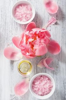Óleo essencial de peônia de sal de flor rosa para spa e aromaterapia