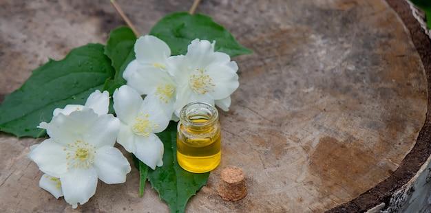 Óleo essencial e flores de jasmim em um fundo de madeira. procedimentos cosméticos. foco seletivo
