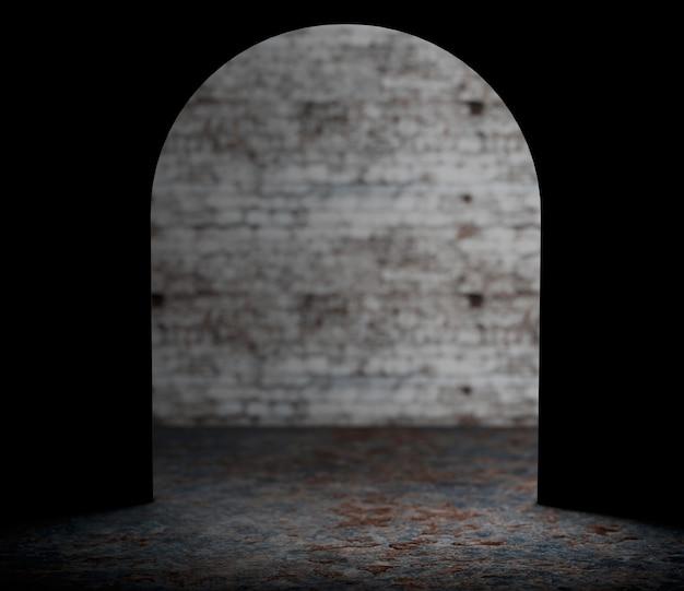 Olhando do close up extremo do furo da parede do mouse. renderização 3d