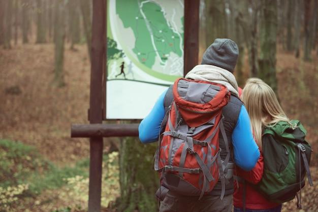 Olhando o mapa no parque