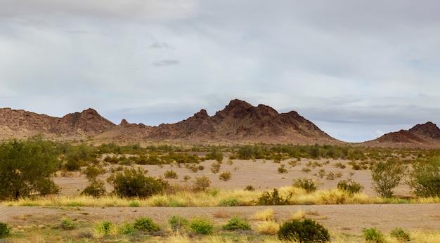 Olhando para o deserto do novo méxico, as formações rochosas das montanhas