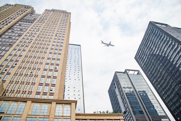Olhar, cima, negócio, edifícios