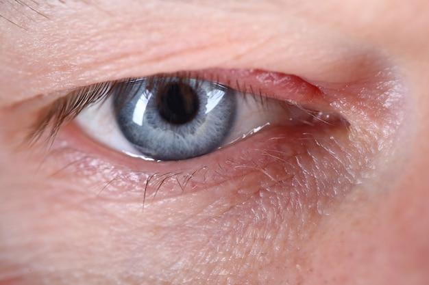 Olhar satisfeito, close-up olho humano homem europeu