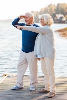 Olhe para isso! comprimento total de um casal feliz de idosos em pé no cais juntos, enquanto a mulher está apontando para longe e sorrindo