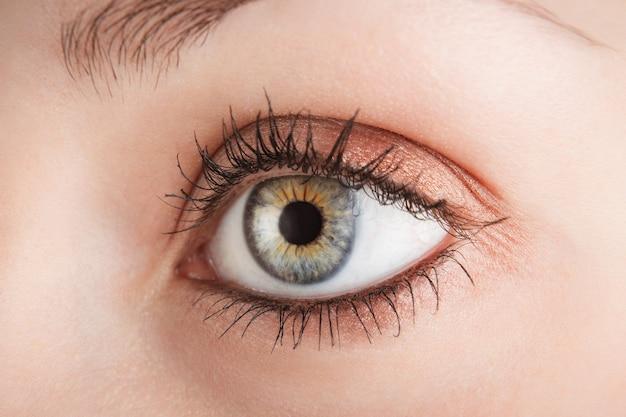 Olho cinza de mulher de perto