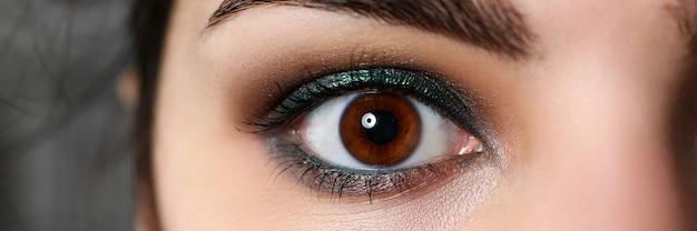 Olho de marrom escuro feminino atraente milenar direito com maquiagem pesada em torno de close-up. conceito de aparência perfeita