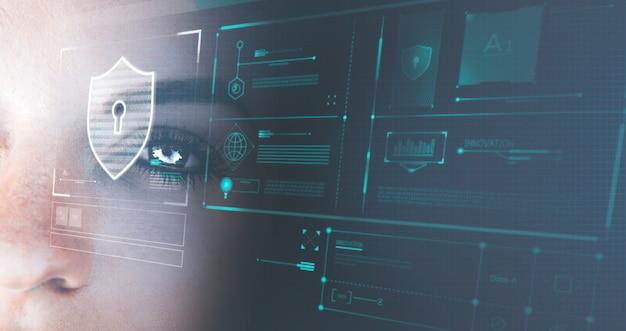 Olho de um robô futurista