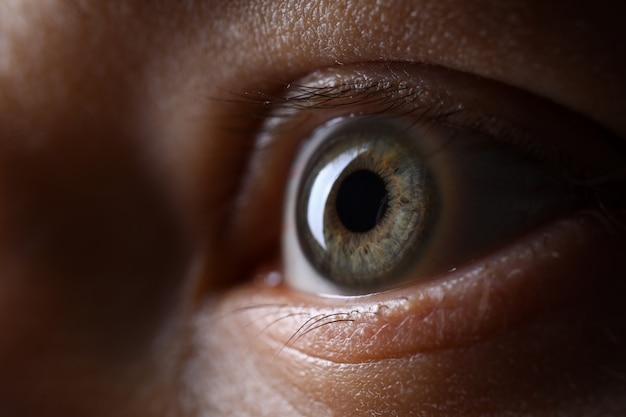Olho esquerdo masculino de cor verde cinza na técnica de pouca luz