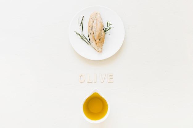 Olive palavra com azeite e pão