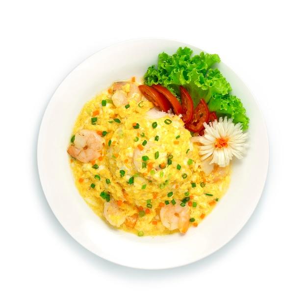 Omelete cremoso com camarão e arroz receita comida tailandesa