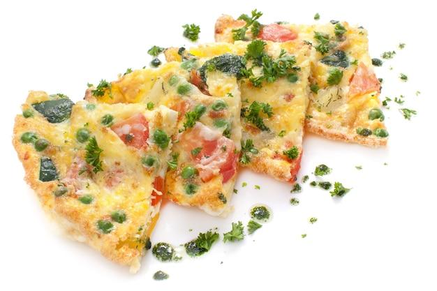 Omelete de legumes e queijo, fritada