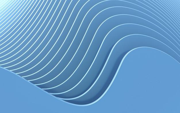 Onda azul fundo abstrato renderização 3d estilo design plano