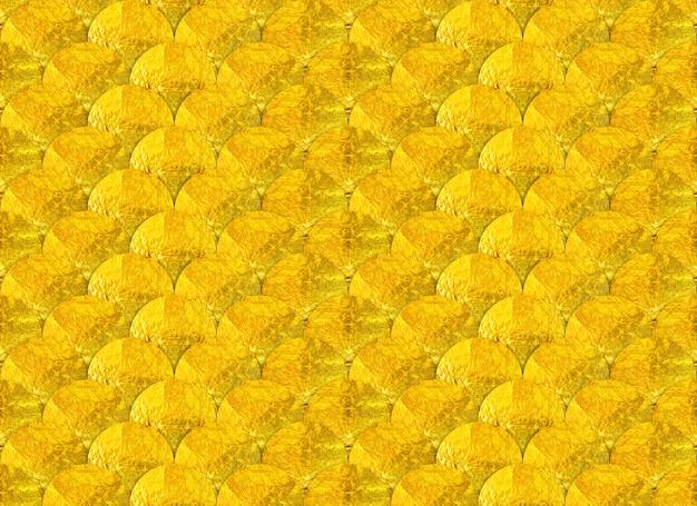 Onda de círculo dourado sem costura ou escala de peixe estilo textura backgroun