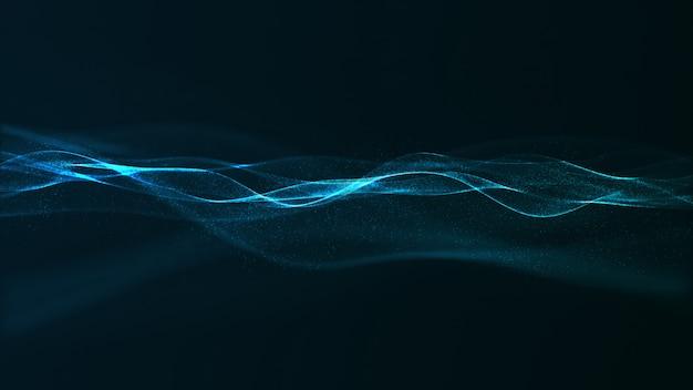 Onda de cor azul digital abstrata com pequenas partículas fluindo
