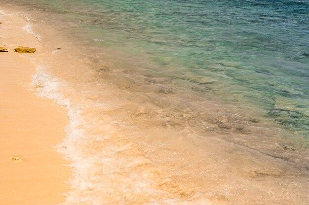 Onda do oceano azul suave ou mar claro no conceito de verão de praia de areia limpa. textura