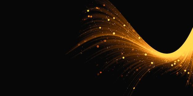 Ondas brilhantes com efeito de luz dourada no caminho do pó de estrelas pretas brilhantes