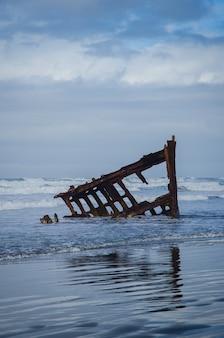 Ondas do mar espirrando para um pedaço de madeira abandonado sob o céu nublado