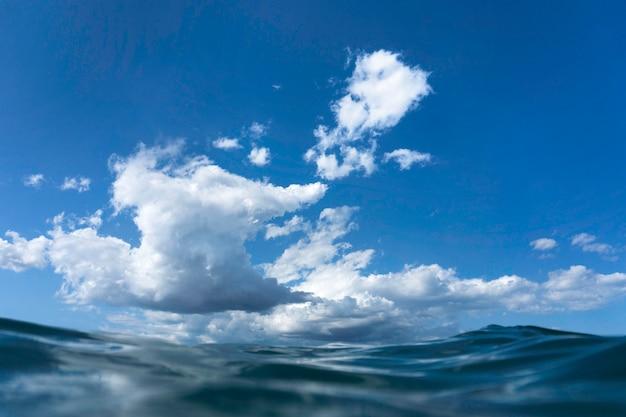 Ondas e nuvens de dentro do mar