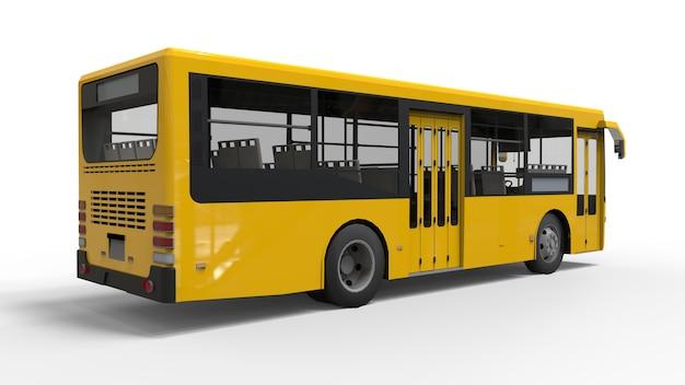 Ônibus amarelo urbano pequeno em uma superfície branca